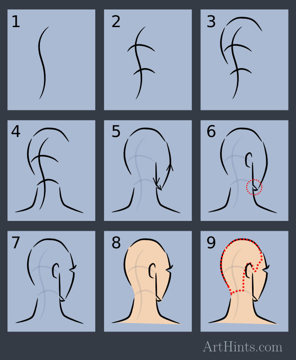 how To Draw Head 3/4 back view step by step